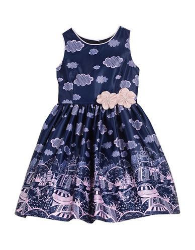 Pippa & Julie Landscape-Print Dress-BLUE-4