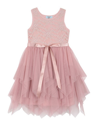 Marmellata Lace Handkerchief Hem Dress-PINK-12