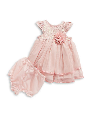 Marmellata Two-Piece Sequin Tiered Dress and Briefs Set-PINK-24 Months