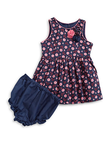 Marmellata Mini Floral Dress with Bloomers-NAVY-12 Months