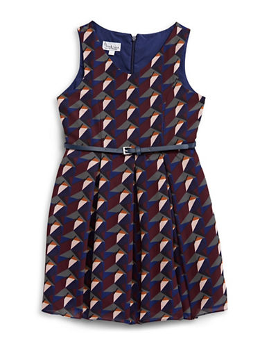 Pippa & Julie Belted Geometric Print Dress-MULTI-12