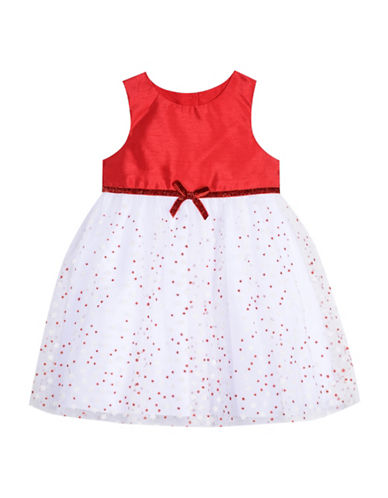 Marmellata Glitter Dot Mesh Dress-RED-12 Months