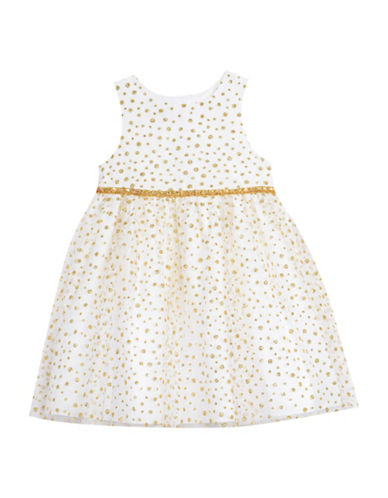 Marmellata Glitter Dot Shrug Dress-BEIGE-24 Months