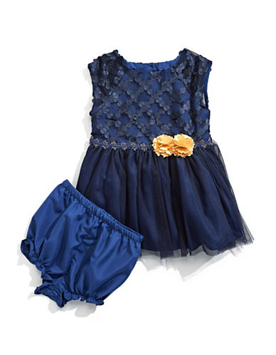 Marmellata Two-Piece Dress and Bloomers Set-BLUE-18 Months