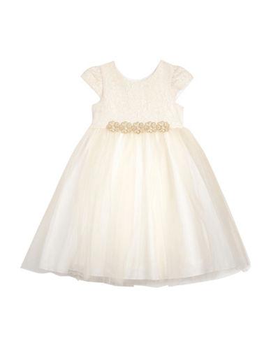Pastourelle Brocade Cap Sleeve Dress-BEIGE-2T