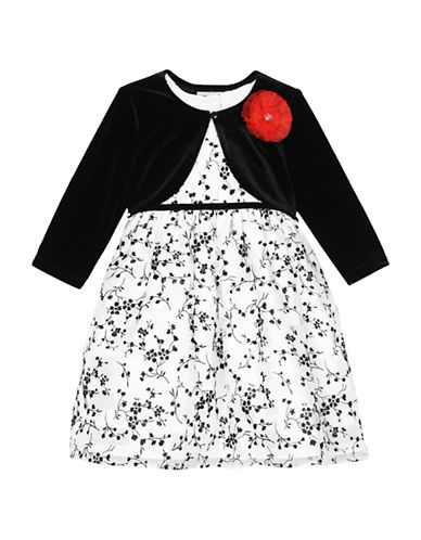 Marmellata Two-Piece Tulle Flower Shrug and Floral Dress Set-WHITE-2T
