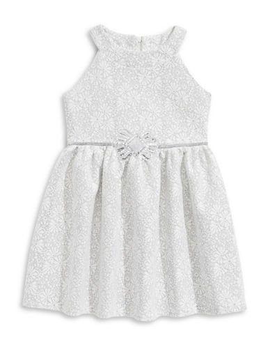 Marmellata Lace Sequin Tulle Dress-WHITE-8