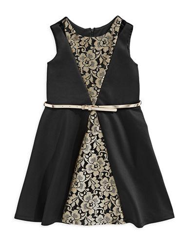 Marmellata Belted Lace Sleeveless Dress-BLACK-10