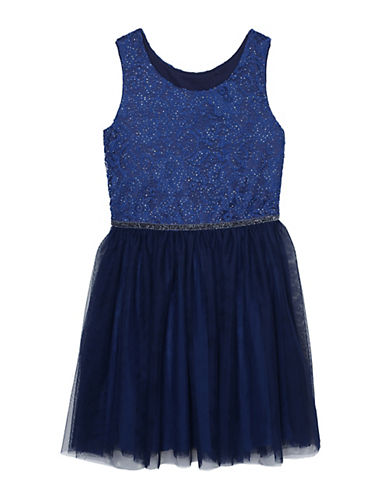 Pastourelle Speckled Tulle Dress-BLUE-10
