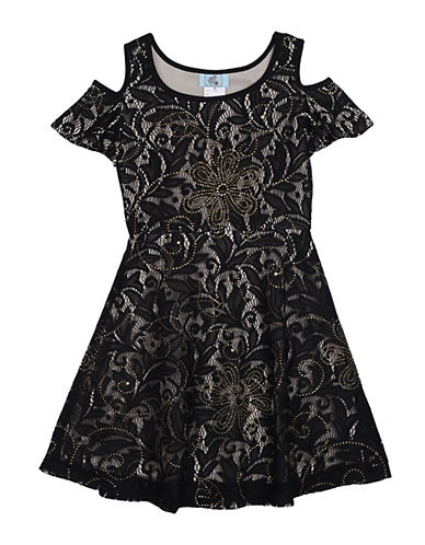 Pastourelle Lace Cold Shoulder Dress-BLACK-10