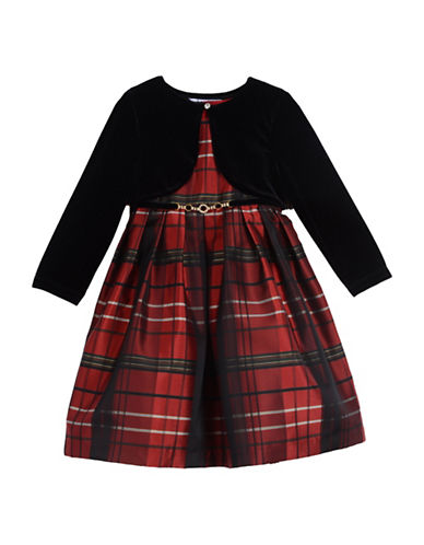 Pippa & Julie Two-Piece Plaid Dress and Velvet Bolero Set-RED-6X