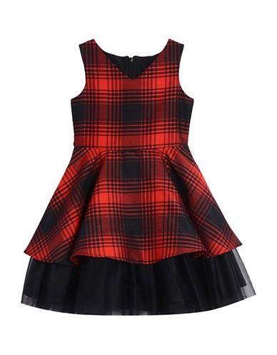 Pastourelle Plaid Sleeveless Dress-BLACK/RED-7