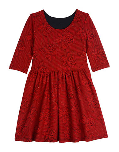 Pastourelle Jacquard Floral Dress-RED-10