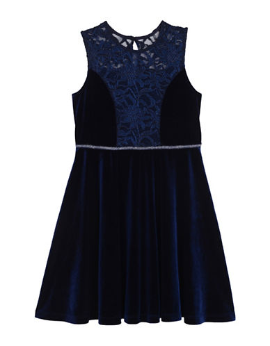 Pastourelle Metallic Lace Sleeveless Dress-NAVY-7