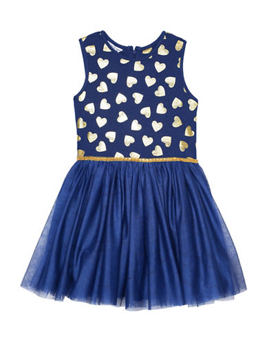 Pippa & Julie Heart Fit-and-Flare Dress-NAVY/GOLD-3T