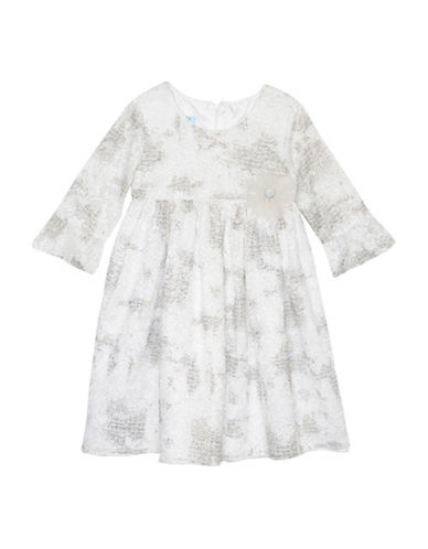 Marmellata Glitter Lace Dress-IVORY-2T