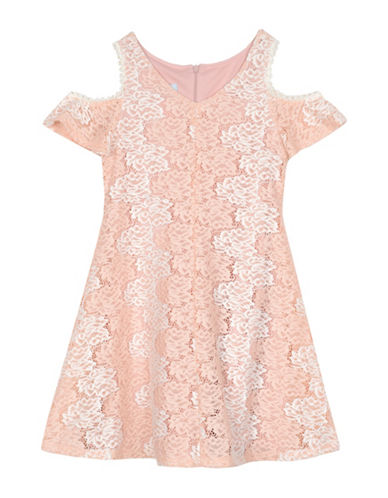 Pastourelle Lace Cold-Shoulder Dress-BLUSH/WHITE-8