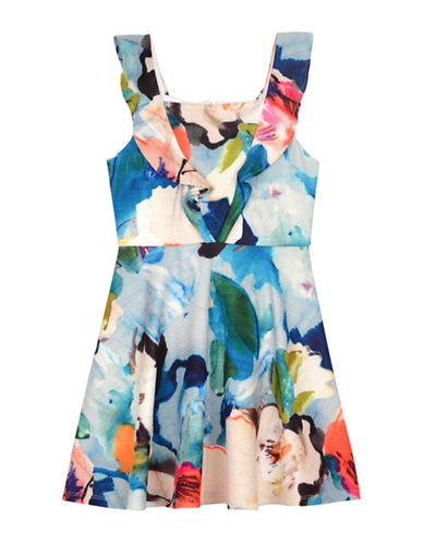 Pastourelle Floral-Print Scuba Dress-MULTI-10