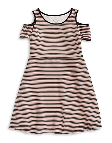 Pastourelle Striped Cold-Shoulder Dress-PINK/BLACK-8