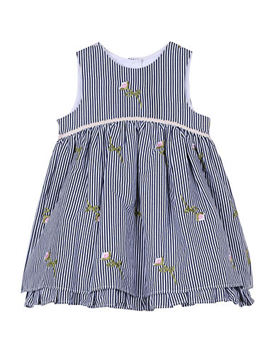 Pippa & Julie Baby Girl's Floral Striped Cotton Dress 89918626