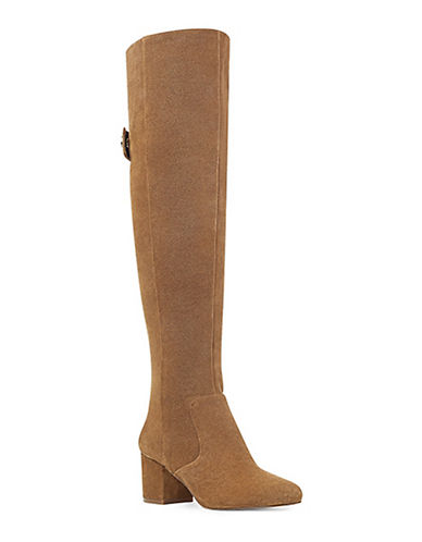 Nine West Suede Knee-High Boots-COGNAC-9.5