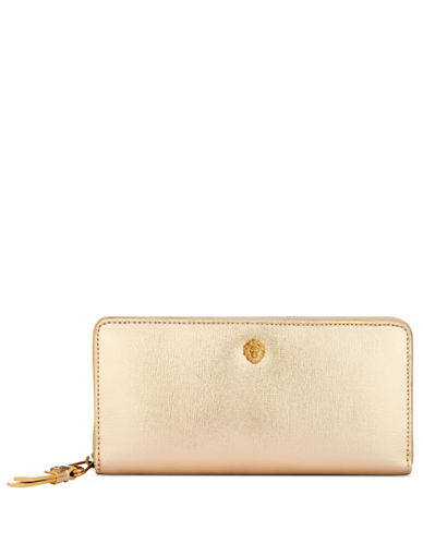 Anne Klein Slim Zip-Around Wallet-GOLD-One Size