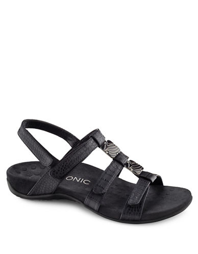 Vionic Amber Crocodile Embossed Grip-Tape Sandals-BLACK-6
