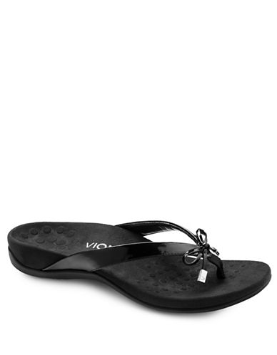 Vionic Bella II Bow Tie Flat Sandals-BLACK-10