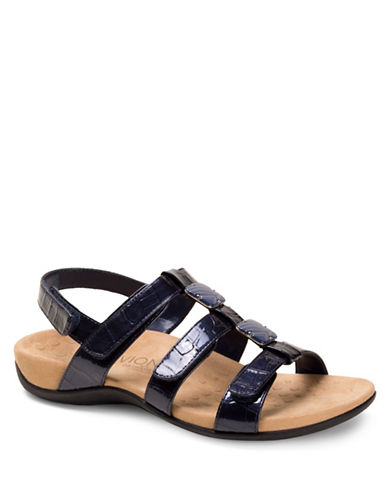 Vionic Amber Crocodile Embossed Grip-Tape Sandals-NAVY-8