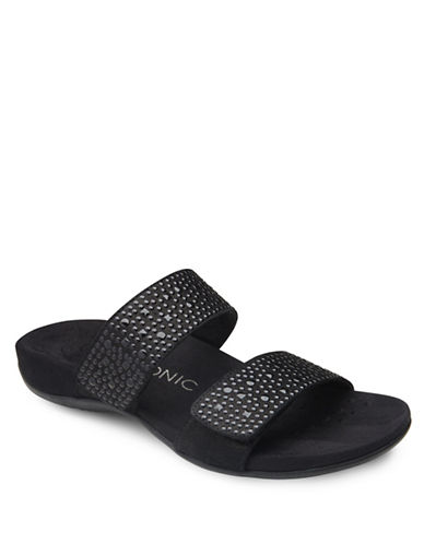 Vionic Samoa Embellished Leather Flat Sandals-BLACK-7