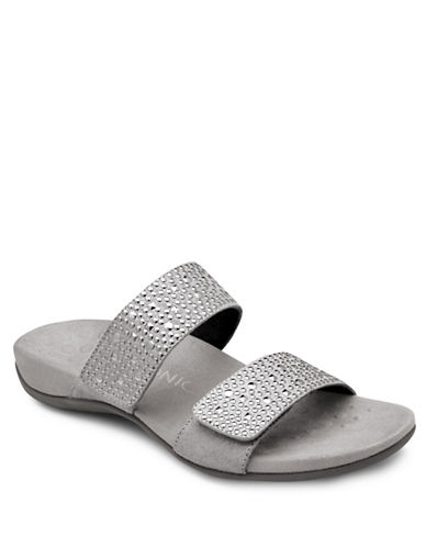 Vionic Samoa Embellished Leather Flat Sandals-PEWTER-9