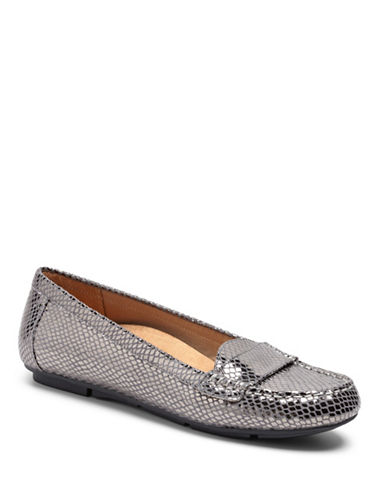 Vionic Chill Larrun Leather Loafers-GUNMETAL SNAKE-9