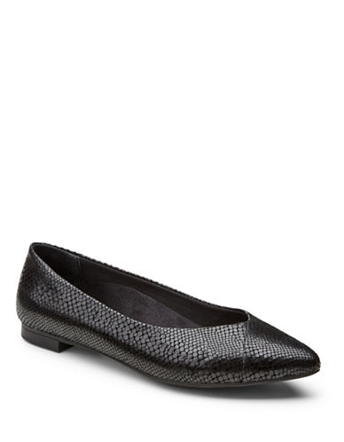 Vionic Gem Caballo Leather Ballet Flats-BLACK SNAKE-9.5