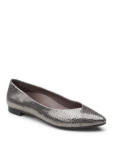 Vionic Gem Caballo Leather Ballet Flats-GUNMETAL SNAKE-6.5
