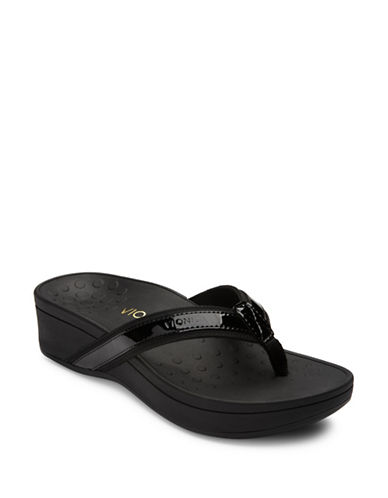 Vionic Pacific High Tide Leather Flat Sandals-BLACK-8