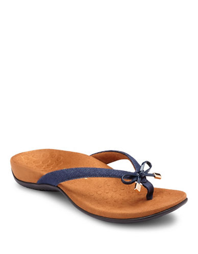 Vionic Bella II Bow Tie Flat Sandals-DENIM-5