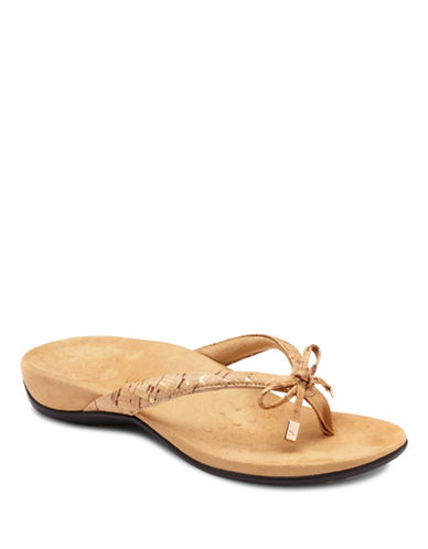 Vionic Bella II Bow Tie Flat Sandals-GOLD CORK-7