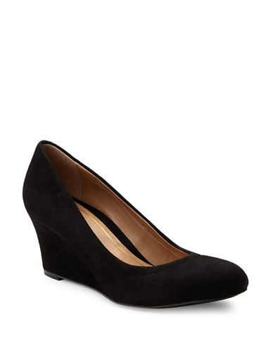 Vionic Camden Wedge Pumps-BLACK SUEDE-6.5
