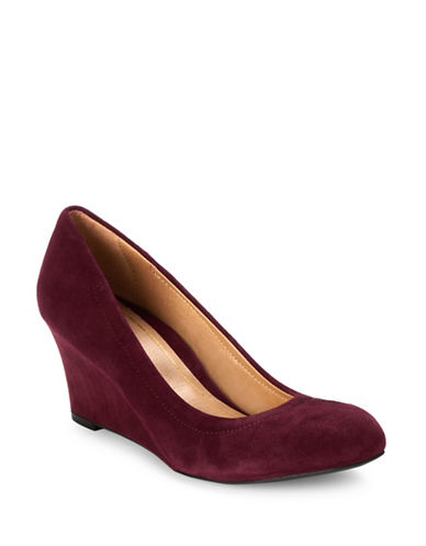 Vionic Camden Wedge Pumps-MERLOT RED-9.5