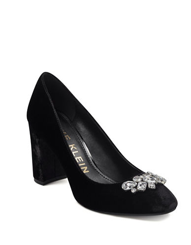 Anne Klein Crystal Embellished Velvet Pumps-BLACK VELVET-7