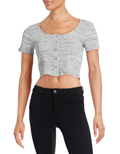 Design Lab Lord & Taylor Space-Dye Button Front Crop Top-WHITE-Large