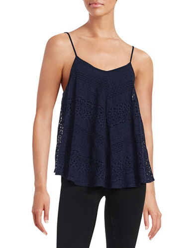 Design Lab Lord & Taylor Lace Trapeze Tank-BLUE-Small 88378886_BLUE_Small