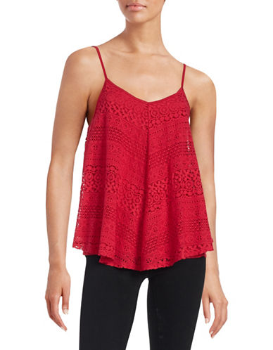 Design Lab Lord & Taylor Lace Trapeze Tank-RED-Large 88478476_RED_Large