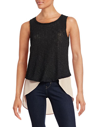Design Lab Lord & Taylor Knit and Crepe Twofer Tank-BLACK-Small 88478462_BLACK_Small