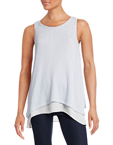 Design Lab Lord & Taylor Crochet Overlay Tank Top-BLUE-Small 88478478_BLUE_Small