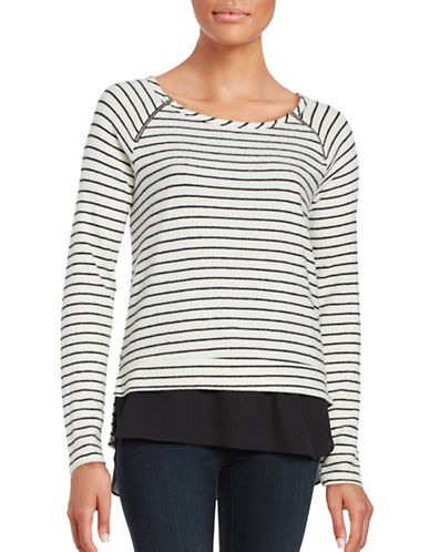 Design Lab Lord & Taylor Zip-Accented Layered Sweater-GREY-Medium 88755460_GREY_Medium