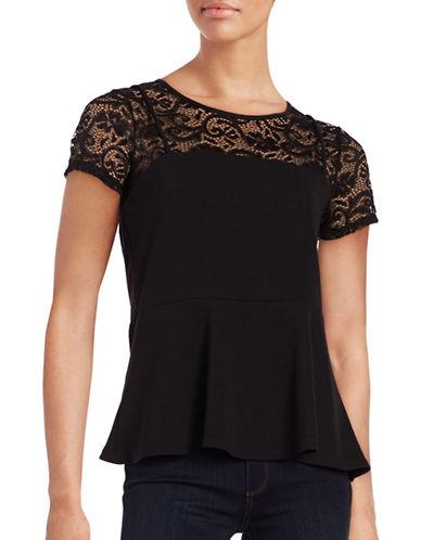 Design Lab Lord & Taylor Short Sleeve Lace-Trim Peplum Top-BLACK-Large 88854997_BLACK_Large