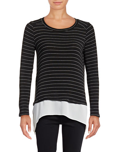 Design Lab Lord & Taylor Striped Twofer Top-GREY-X-Small 88920913_GREY_X-Small