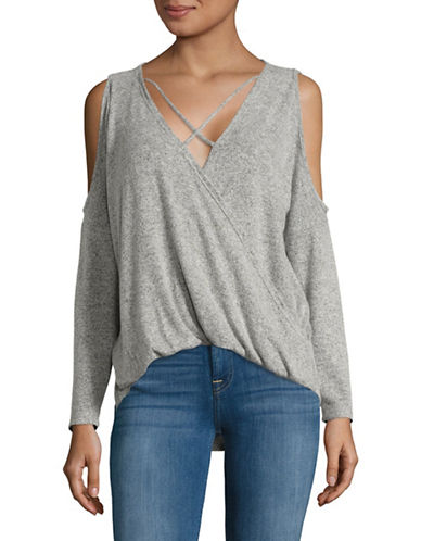 Design Lab Lord & Taylor Knit Surplice Top-GREY-Medium