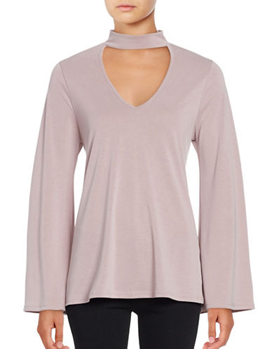 Design Lab Lord & Taylor V-Neck Long Sleeve Top-PINK-Small 88920934_PINK_Small
